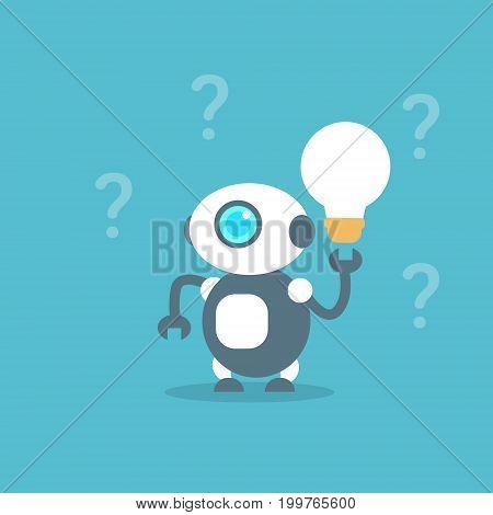 Modern Robot Hold Light Bulb Artificial Intelligence Technology Concept Flat Vector Illustration