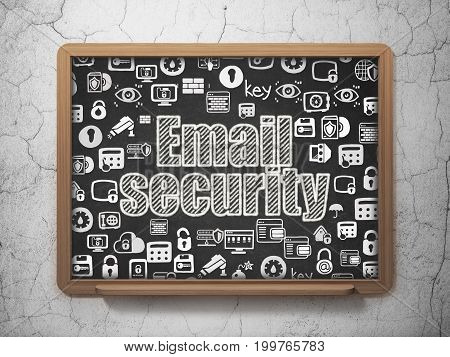 Safety concept: Chalk White text Email Security on School board background with  Hand Drawn Security Icons, 3D Rendering