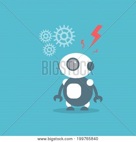 Modern Robot Artificial Intelligence Technology Concept Flat Vector Illustration
