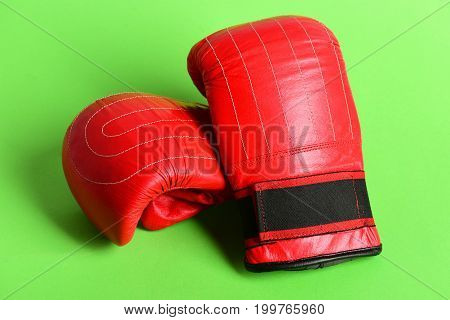 Boxing Gloves Isolated On Green Background