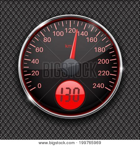 Speedometer. Round black gauge with chrome frame. Vector 3d illustration on metal perforated background