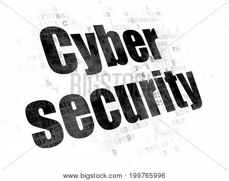 Protection concept: Pixelated black text Cyber Security on Digital background