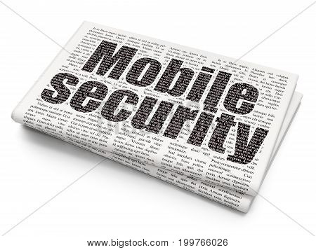 Safety concept: Pixelated black text Mobile Security on Newspaper background, 3D rendering