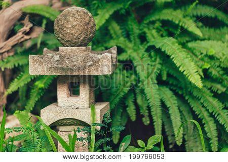 Japan Style Stone Lantern Lamp In Japanese Garden