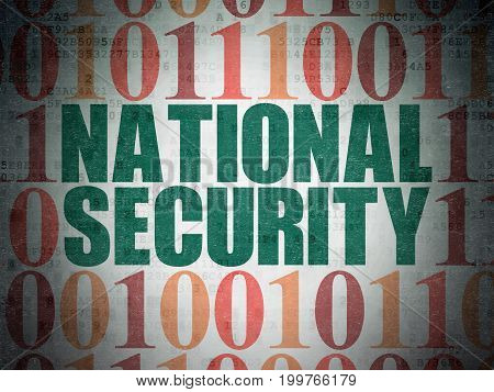 Privacy concept: Painted green text National Security on Digital Data Paper background with Binary Code