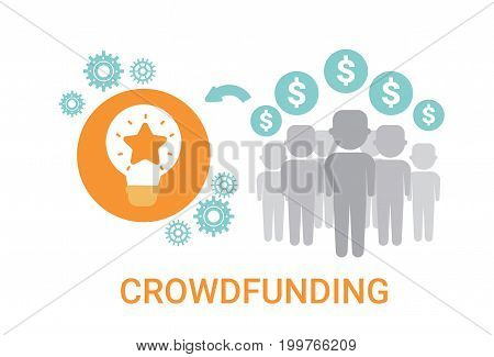 Crowdfunding Crowdsourcing Business Resources Idea Sponsor Investment Icon Vector Illustration