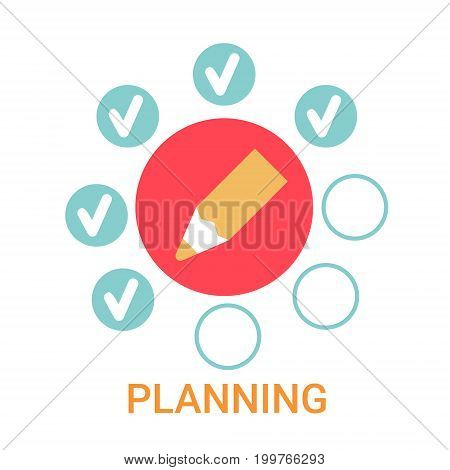 Planning Icon Business Strategy Development Banner Flat Vector Illustration