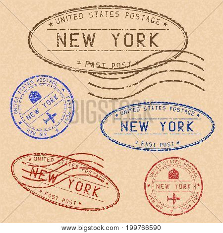 Collection of NEW YORK postal stamps partially faded on beige paper background. Vector illustration