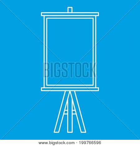 Easel icon blue outline style isolated vector illustration. Thin line sign