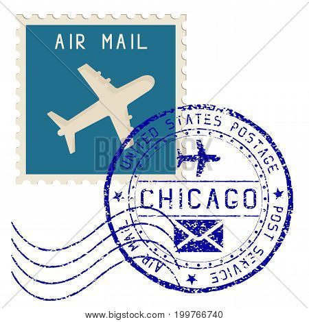 Air mail stamp. Chicago post round impress. Vector illustration isolated on white background