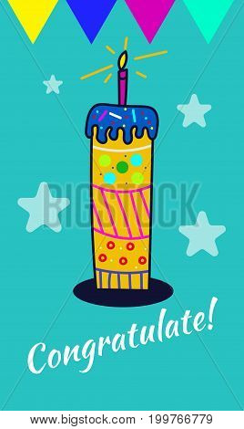 Greeting card happy birthday with victory. Hand drawn cake with candle. Vector illustration