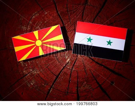 Macedonian Flag With Syrian Flag On A Tree Stump Isolated