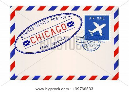 International air mail envelope from CHICAGO. With oval postal stamp. Vector illustration isolated on white background