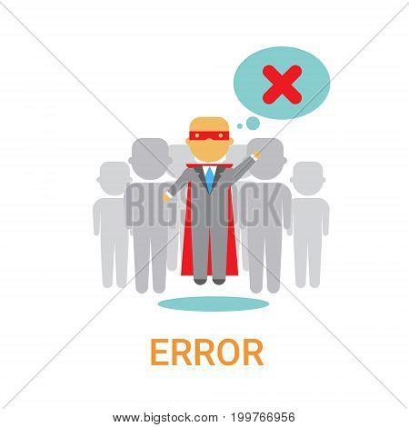 Error Icon 404 Not Found Broken Message Banner Flat Vector Illustration