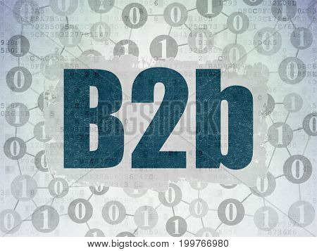 Finance concept: Painted blue text B2b on Digital Data Paper background with  Scheme Of Binary Code