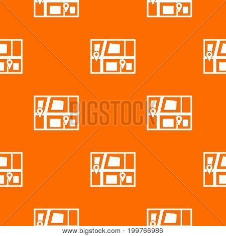 Geo location of taxi pattern repeat seamless in orange color for any design. Vector geometric illustration