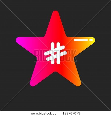Logo blog, news about celebrities, fame. Icon gradient star with hashtag. Vector illustration
