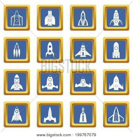 Rocket icons set in blue color isolated vector illustration for web and any design