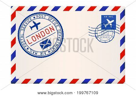 International air mail envelope from LONDON. With round blue postal stamp. Vector illustration isolated on white background