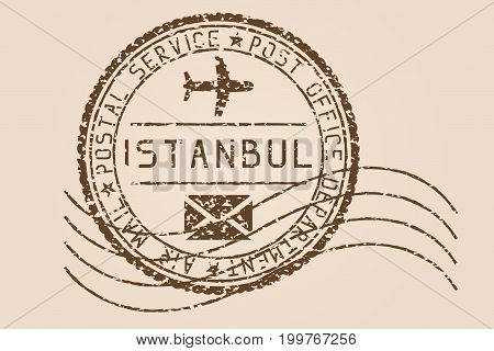 Istanbul mail stamp. Old faded retro styled impress. Vector illustration