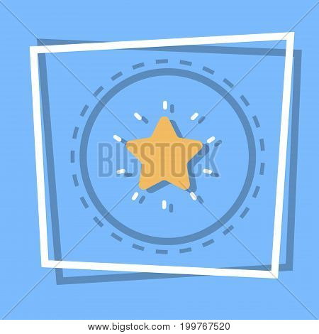 Star Icon Best Prize Award Web Button Flat Vector Illustration