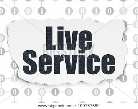 Finance concept: Painted black text Live Service on Torn Paper background with Scheme Of Binary Code