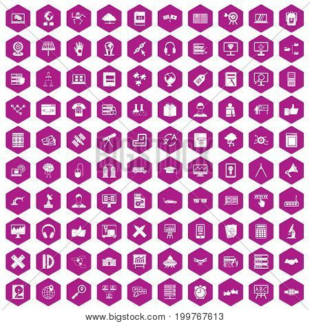 100 education technology icons set in violet hexagon isolated vector illustration
