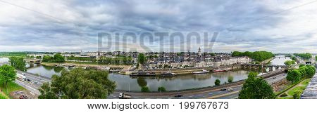Angers France - May 122017 : Panoramic cityscape of Angers viewing Maine River Verdun Bridge and downtown area from Angers Castle