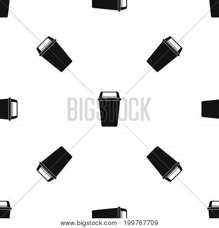 Plastic flip lid bin pattern repeat seamless in black color for any design. Vector geometric illustration