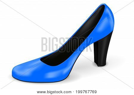 Blue high heel. Woman shoe. Vector 3d illustration