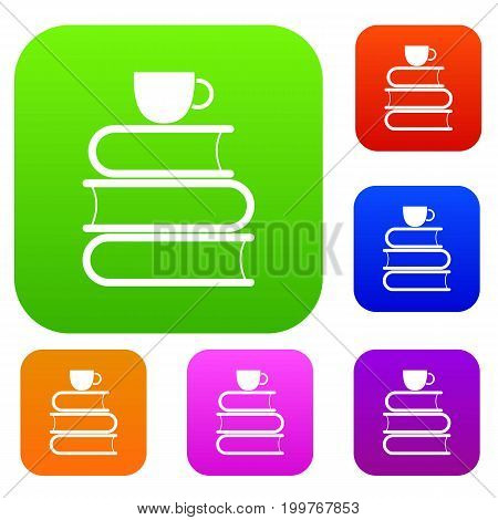 Stack of books and white cup set icon in different colors isolated vector illustration. Premium collection