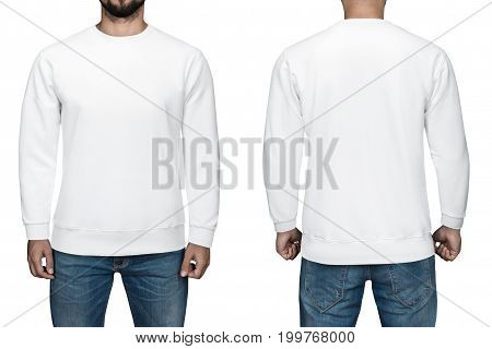 men in blank white pullover, front and back view, isolated white background. Design sweatshirt, template and mockup for print.