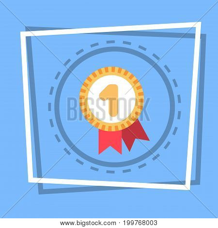 Robbon With Medal Icon Best Prize Award Web Button Flat Vector Illustration