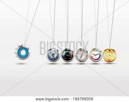 Newtons cradle - Hard work concept- stock illustration