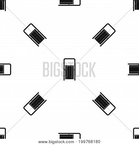 Public garbage bin pattern repeat seamless in black color for any design. Vector geometric illustration