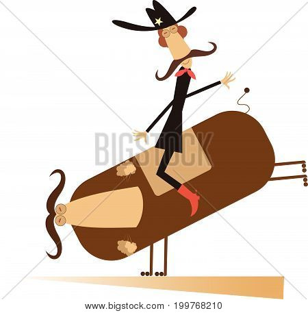 Rodeo, man and bull isolated. Man or cowboy with long mustache is riding on the bull isolated