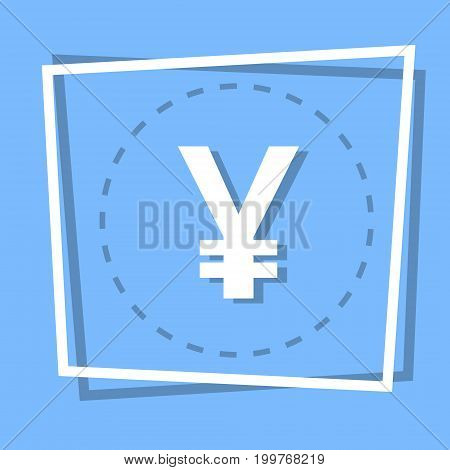 Yen Sign Icon Currency Web Button Flat Vector Illustration