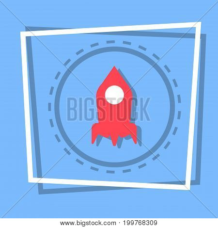 Rocket Icon Stat Up Web Button Flat Vector Illustration