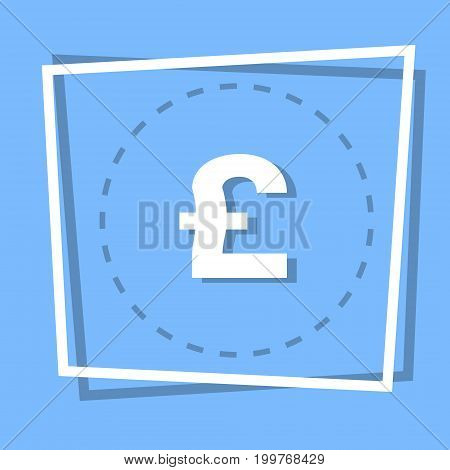 Pound Sign Icon Currency Web Button Flat Vector Illustration