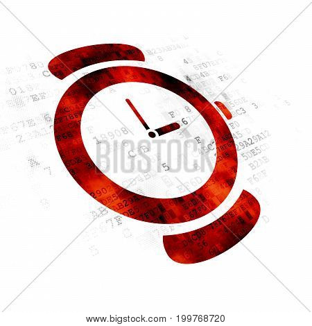 Time concept: Pixelated red Hand Watch icon on Digital background