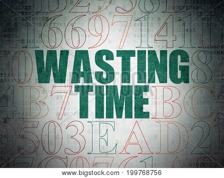 Time concept: Painted green text Wasting Time on Digital Data Paper background with Hexadecimal Code