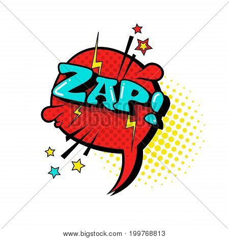 Comic Speech Chat Bubble Pop Art Style Zap Expression Text Icon Vector Illustration