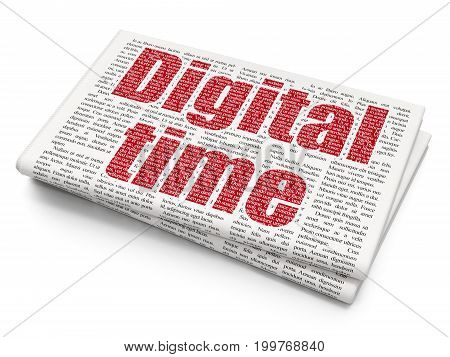 Time concept: Pixelated red text Digital Time on Newspaper background, 3D rendering