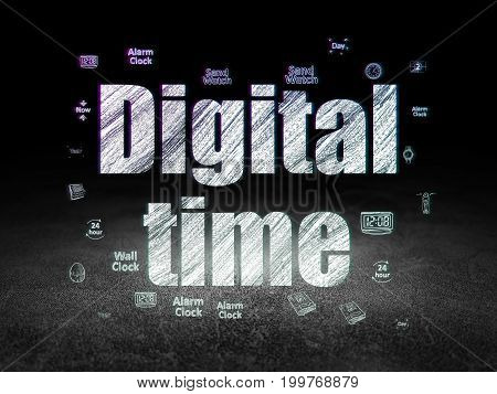 Time concept: Glowing text Digital Time,  Hand Drawing Time Icons in grunge dark room with Dirty Floor, black background