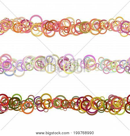 Abstract circle pattern web page separator line design set from colored rings - repeatable vector graphic design elements