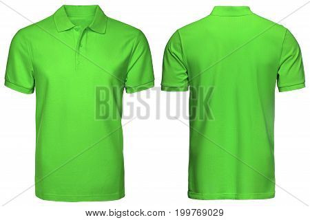 blank green polo shirt, front and back view, isolated white background. Design polo shirt, template and mockup for print.