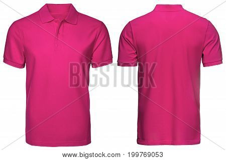 blank pink polo shirt, front and back view, isolated white background. Design polo shirt, template and mockup for print.
