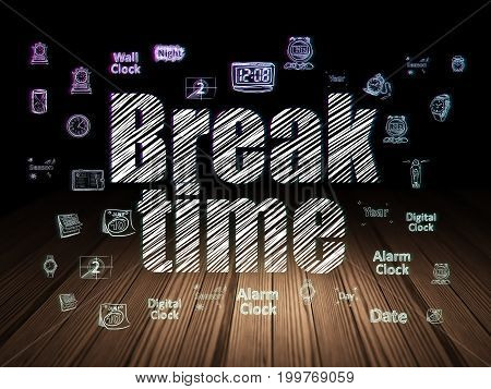 Timeline concept: Glowing text Break Time,  Hand Drawing Time Icons in grunge dark room with Wooden Floor, black background