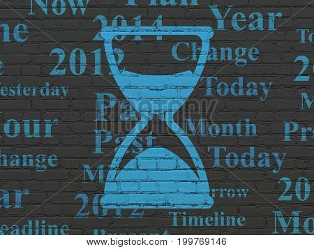 Time concept: Painted blue Hourglass icon on Black Brick wall background with  Tag Cloud