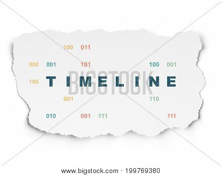 Timeline concept: Painted blue text Timeline on Torn Paper background with  Binary Code